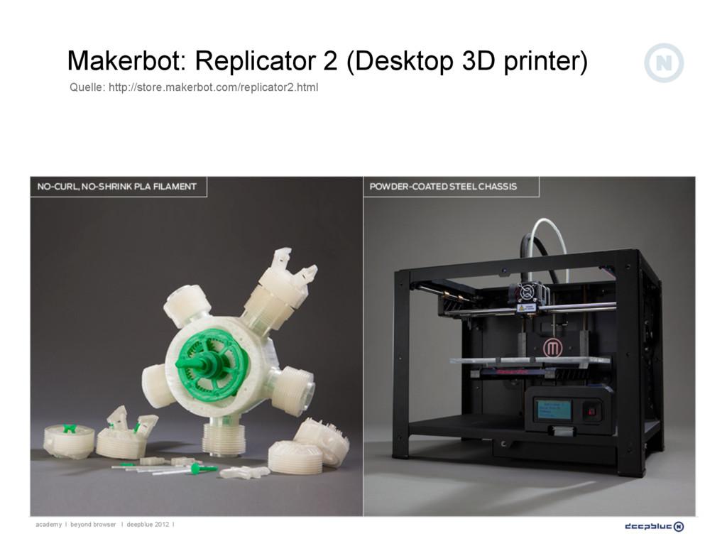 Makerbot: Replicator 2 (Desktop 3D printer) aca...
