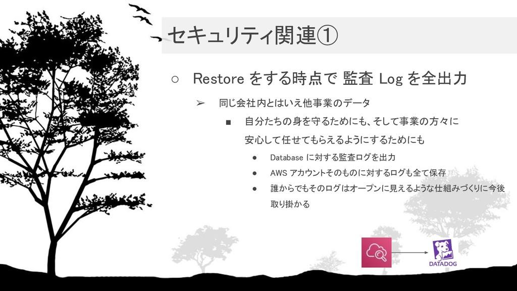 セキュリティ関連① ○ Restore をする時点で 監査 Log を全出力 ➢ 同じ会社...