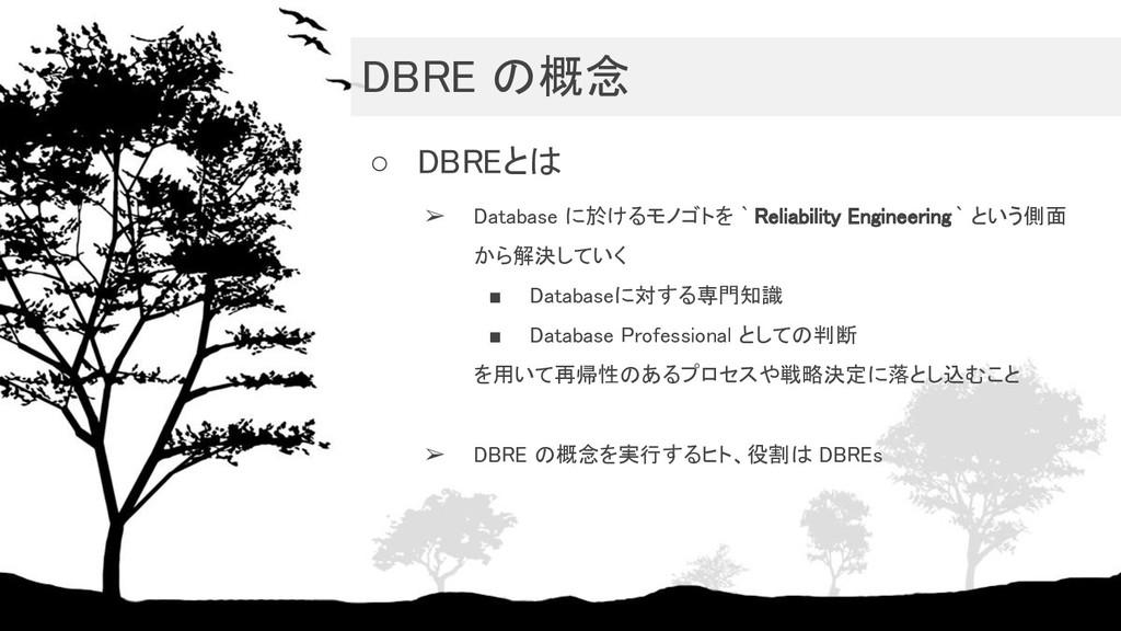DBRE の概念 ○ DBREとは ➢ Database に於けるモノゴトを ` Reli...