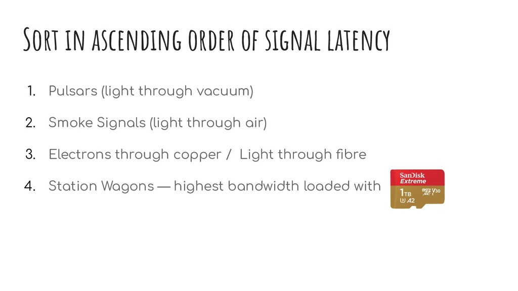 Sort in ascending order of signal latency 1. Pu...