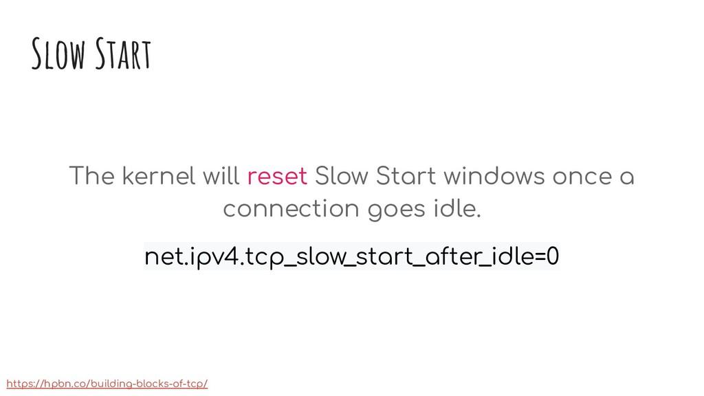 Slow Start The kernel will reset Slow Start win...