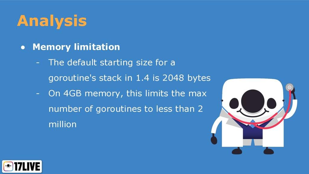 Analysis ● Memory limitation - The default star...