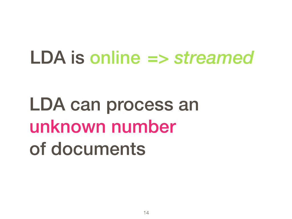 14 LDA can process an unknown number of documen...