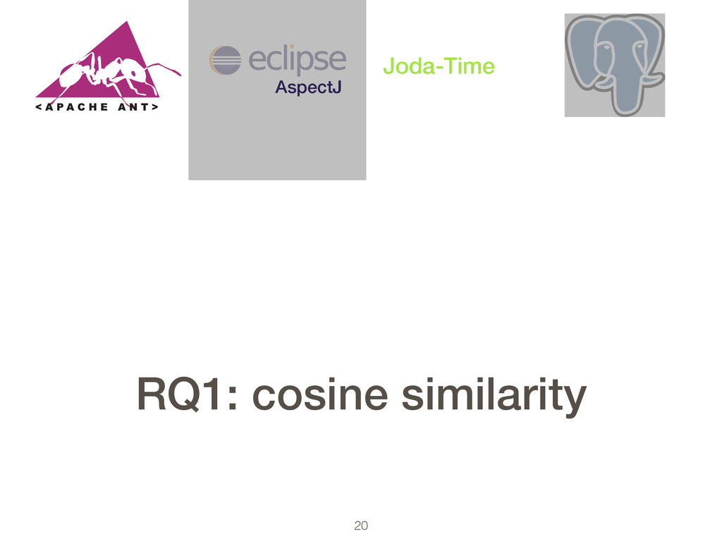 20 AspectJ Joda-Time RQ1: cosine similarity