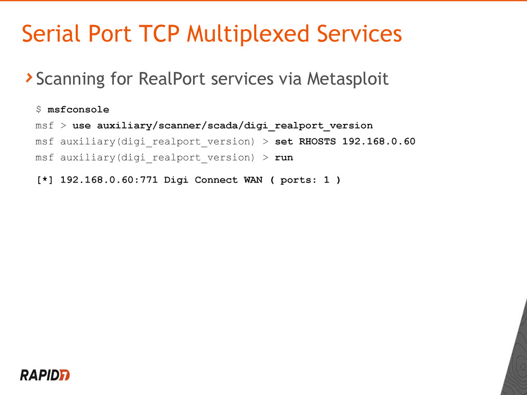 Scanning for RealPort services via Metasploit S...