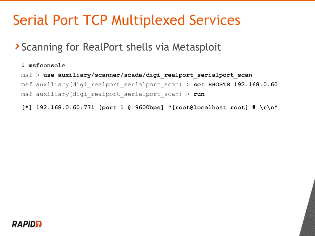 Scanning for RealPort shells via Metasploit Ser...