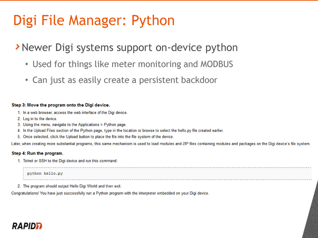 Newer Digi systems support on-device python • U...