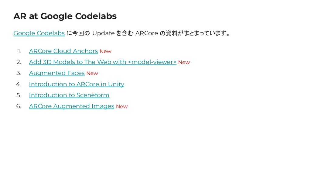 AR at Google Codelabs Google Codelabs に今回の Upda...