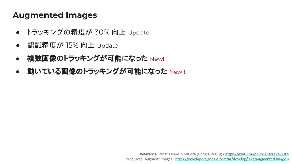 Augmented Images ● トラッキングの精度が 30% 向上 Update ● 認...