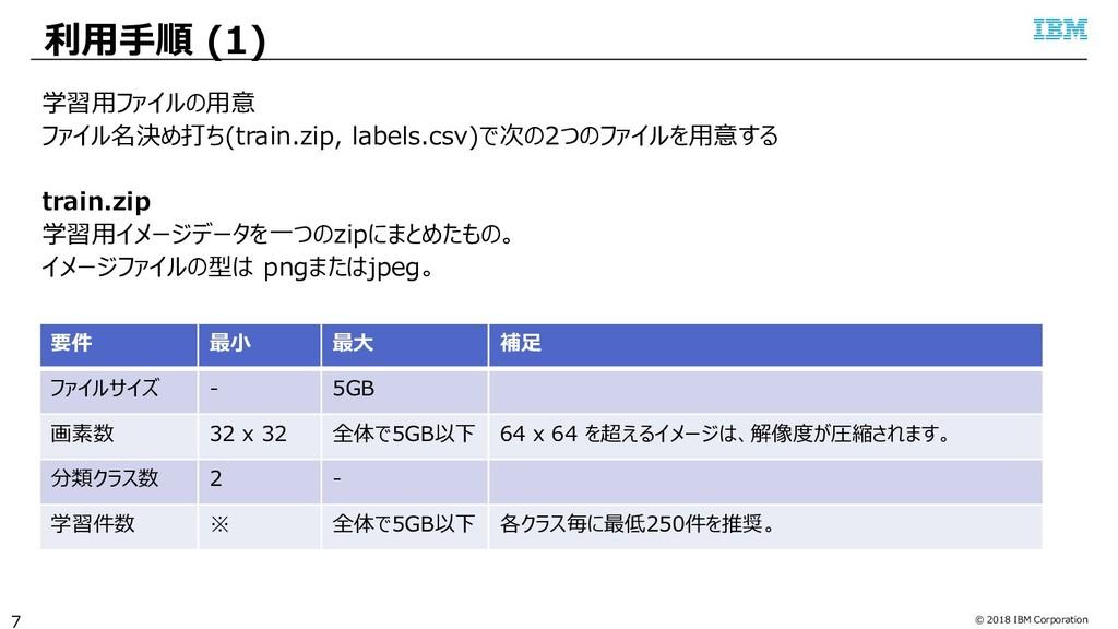 © 2018 IBM Corporation 利用手順 (1) 7 学習用ファイルの用意 ファ...