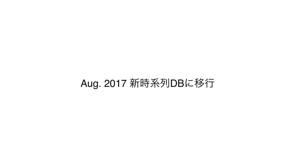 Aug. 2017 ৽ܥྻDBʹҠߦ