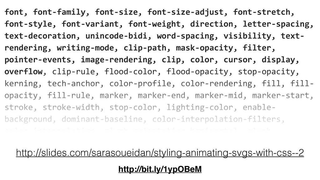font, font-‐family, font-‐size, font...