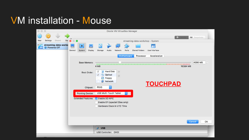 VM installation - Mouse TOUCHPAD