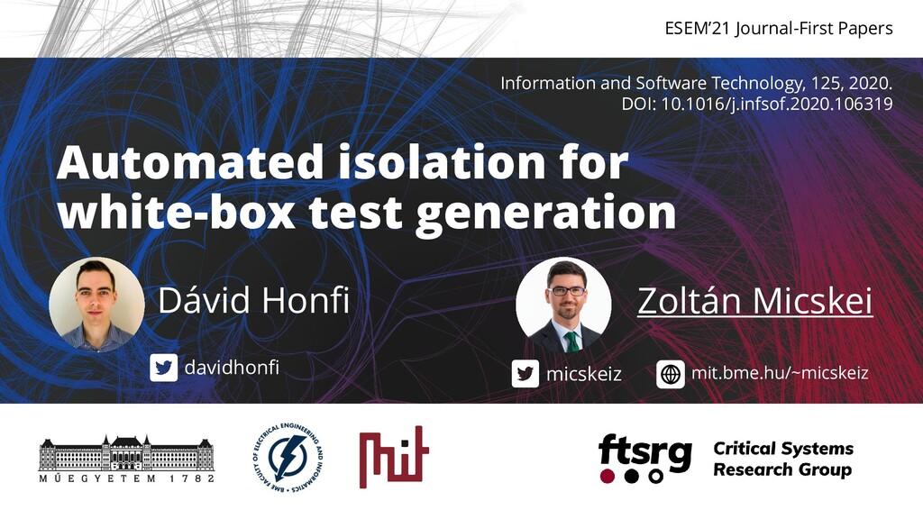 Automated isolation for white-box test generati...
