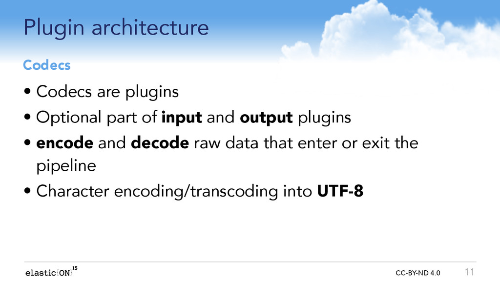 { } CC-BY-ND 4.0 Plugin architecture • Codecs a...