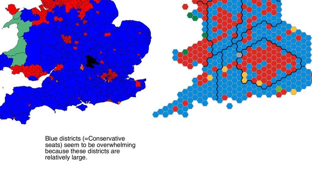 Blue districts (=Conservative seats) seem to be...