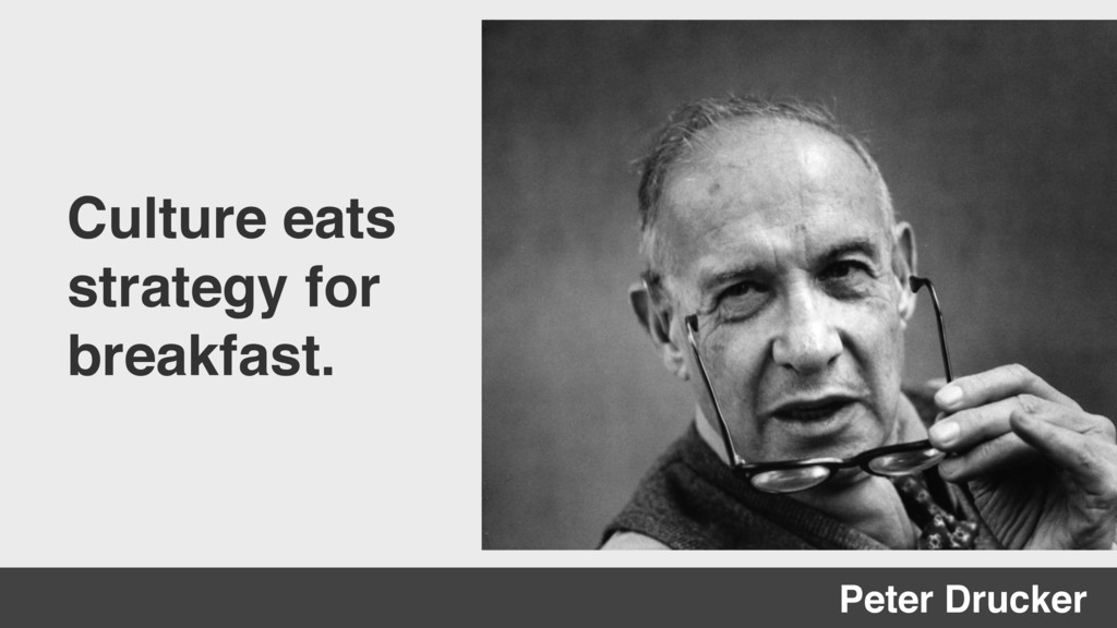 Culture eats strategy for breakfast. Peter Druc...