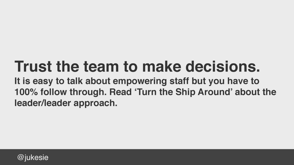 @jukesie Trust the team to make decisions. It i...