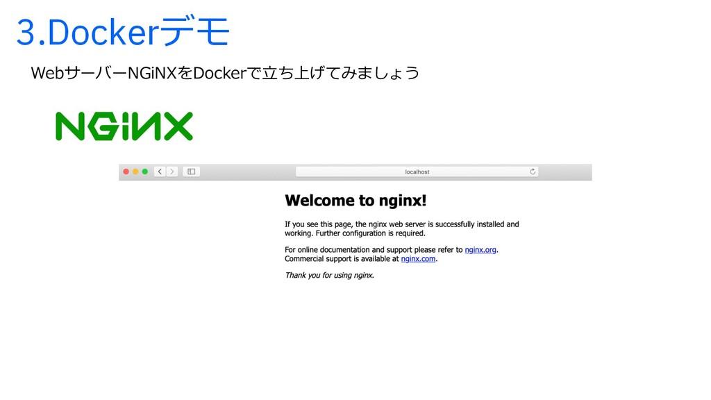 3.Dockerデモ WebサーバーNGiNXをDockerで⽴ち上げてみましょう