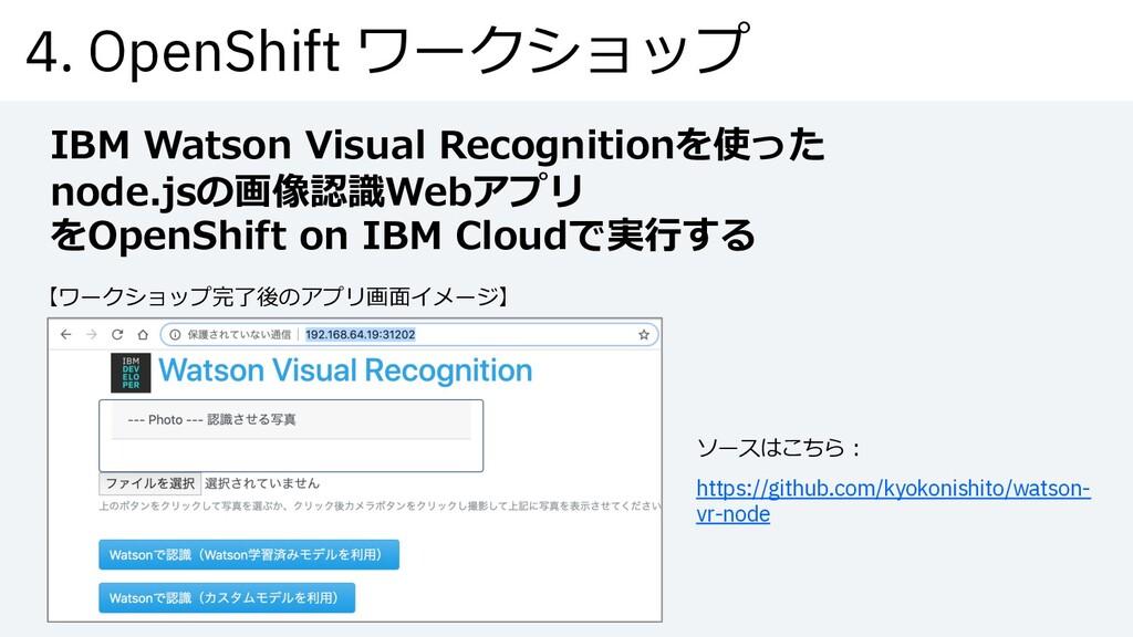 4. OpenShift ワークショップ IBM Watson Visual Recognit...