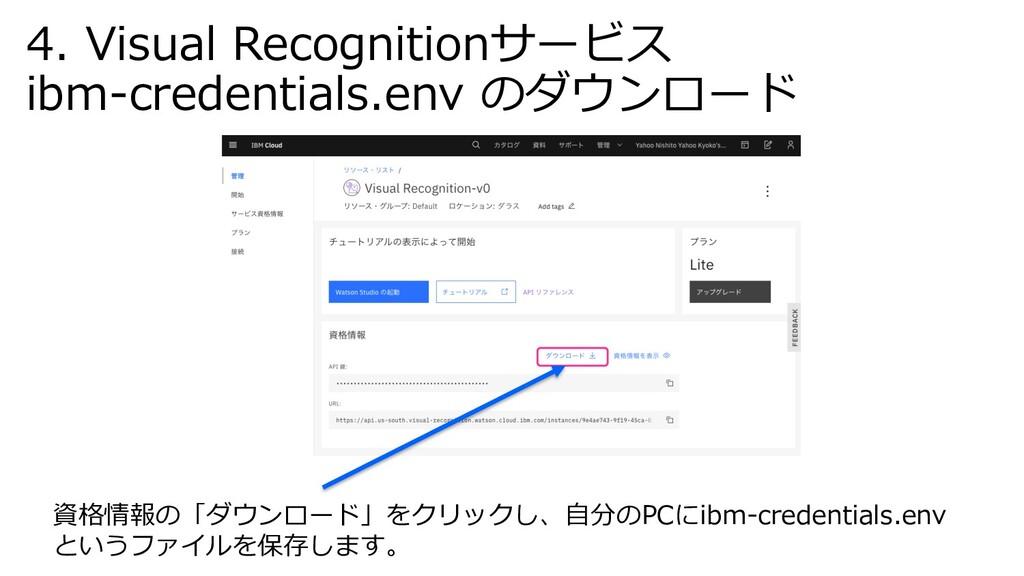 資格情報の「ダウンロード」をクリックし、⾃分のPCにibm-credentials.env と...