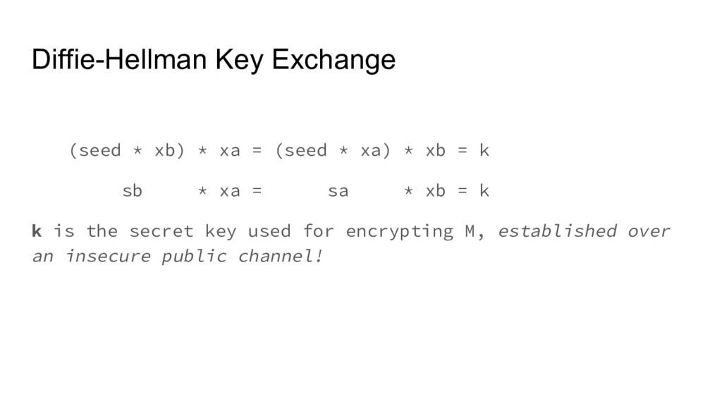 Diffie-Hellman Key Exchange (seed * xb) * xa = ...