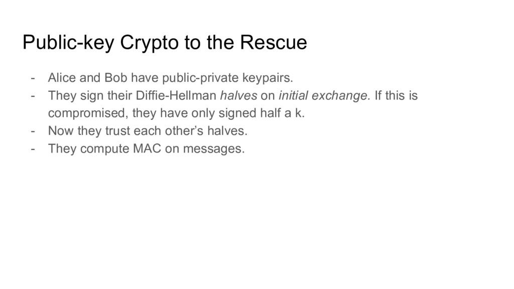 Public-key Crypto to the Rescue - Alice and Bob...