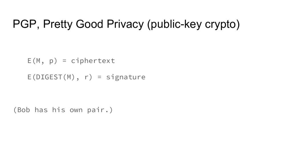 PGP, Pretty Good Privacy (public-key crypto) E(...