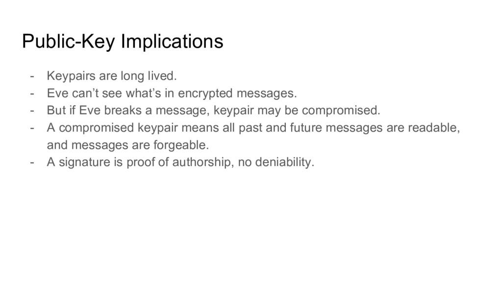 Public-Key Implications - Keypairs are long liv...