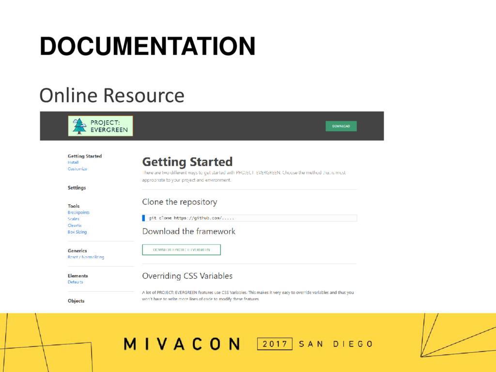DOCUMENTATION Online Resource