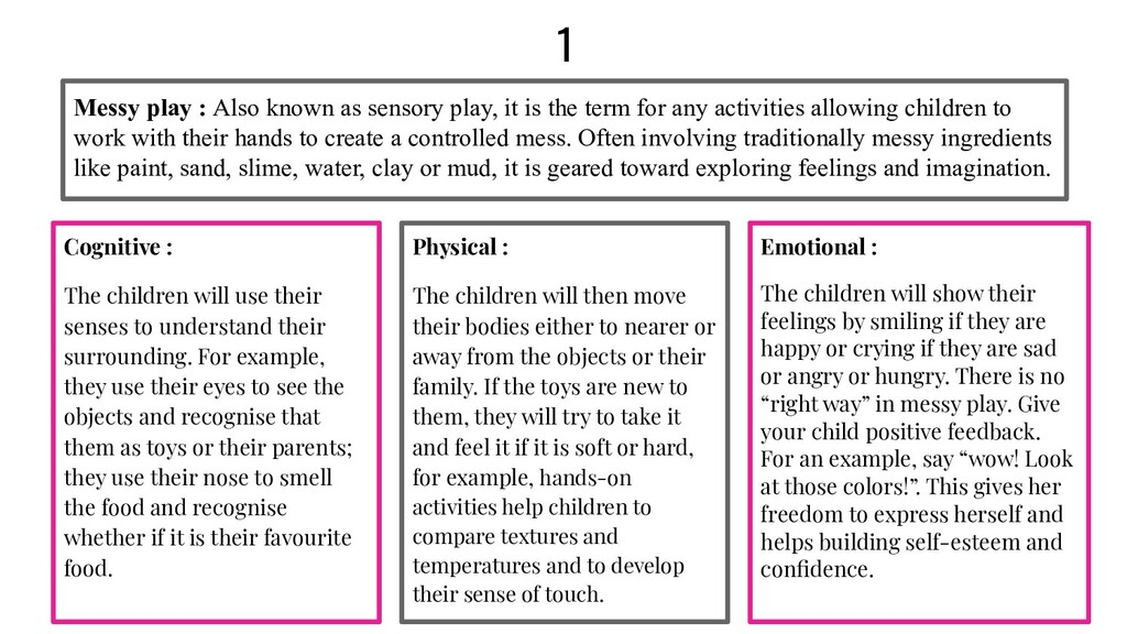 1 Cognitive : The children will use their sense...