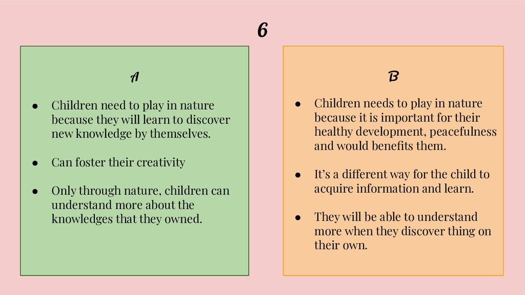 6 A ● Children need to play in nature because t...