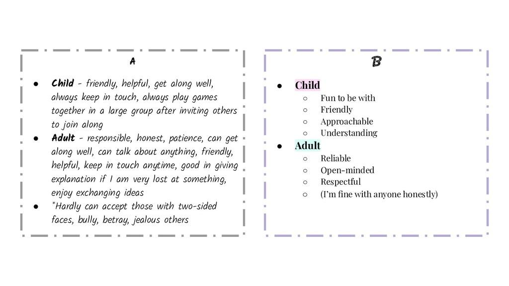 A ● Child - friendly, helpful, get along well, ...