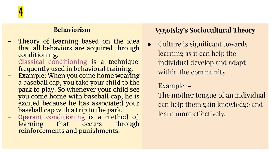 4 Vygotsky's Sociocultural Theory ● Culture is ...