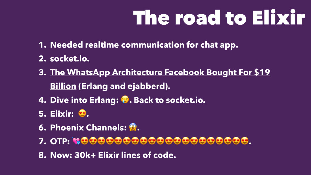 The road to Elixir 1. Needed realtime communica...