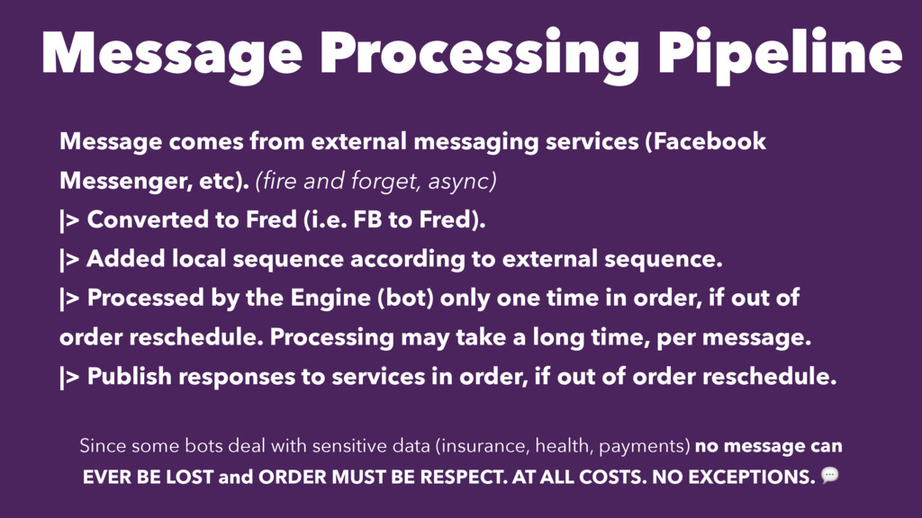 Message Processing Pipeline Message comes from ...