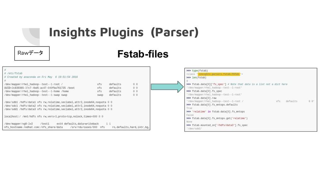 Insights Plugins (Parser) Rawデータ Fstab-files