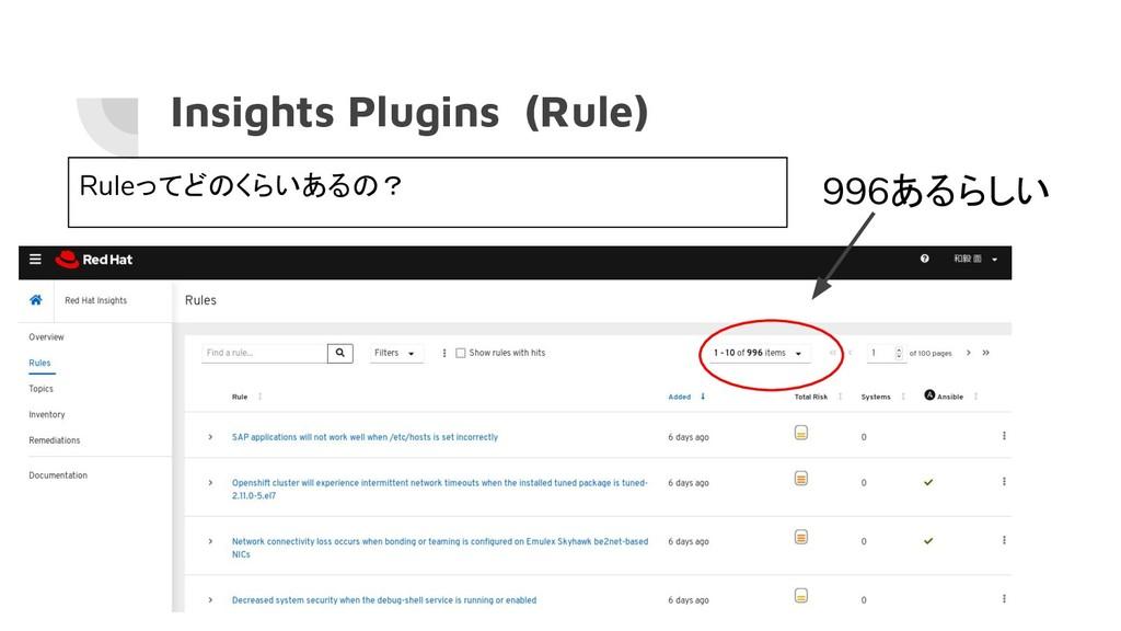 Insights Plugins (Rule) Ruleってどのくらいあるの? 996あるらしい