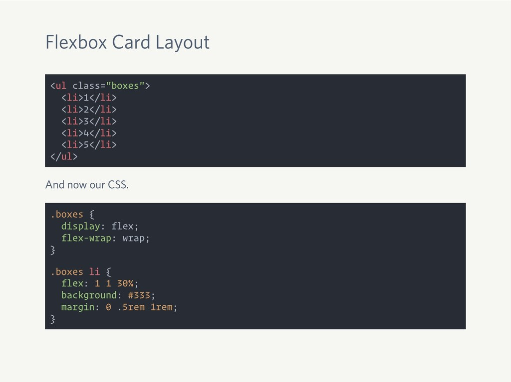 """Flexbox Card Layout <ul class=""""boxes""""> <li>1</l..."""