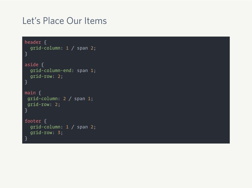 Let's Place Our Items header { grid-column: 1 /...