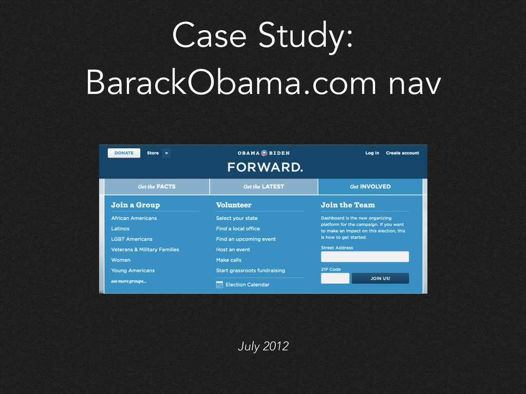 Case Study: BarackObama.com nav July 2012