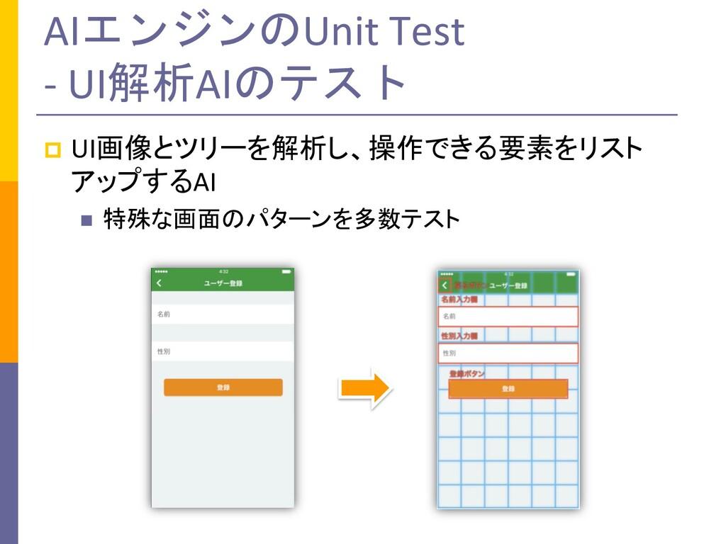AIエンジンのUnit Test - UI解析AIのテスト p UI画像とツリーを解析し、操作...