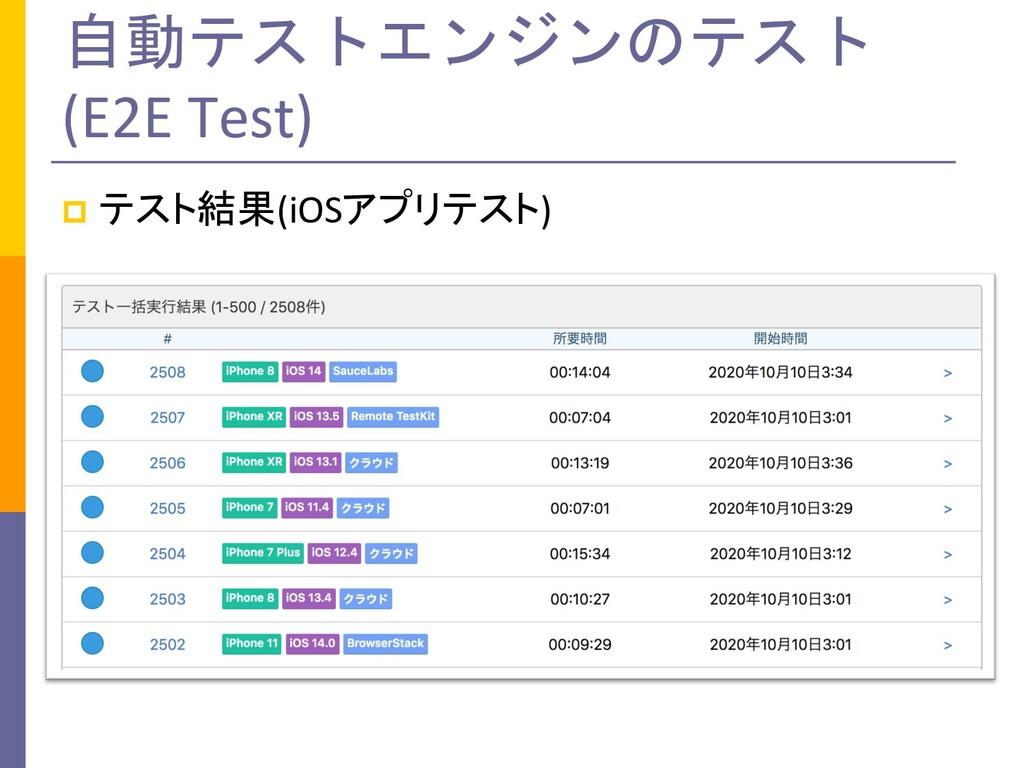 自動テストエンジンのテスト (E2E Test) p テスト結果(iOSアプリテスト)