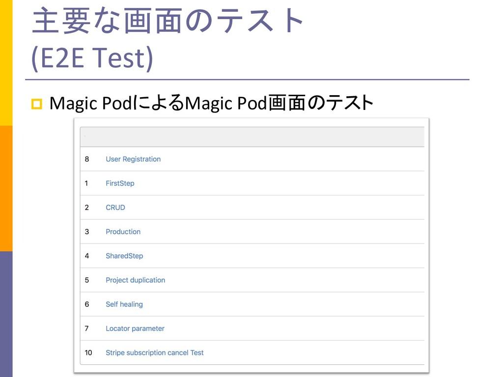 主要な画面のテスト (E2E Test) p Magic PodによるMagic Pod画面の...