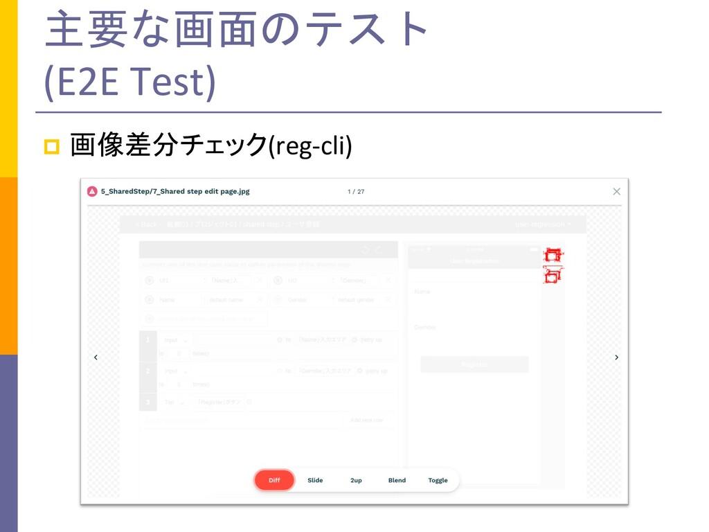 主要な画面のテスト (E2E Test) p 画像差分チェック(reg-cli)