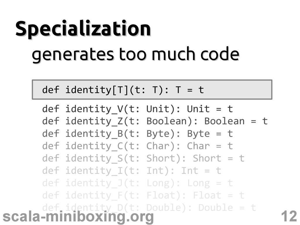 12 scala-miniboxing.org Specialization Speciali...
