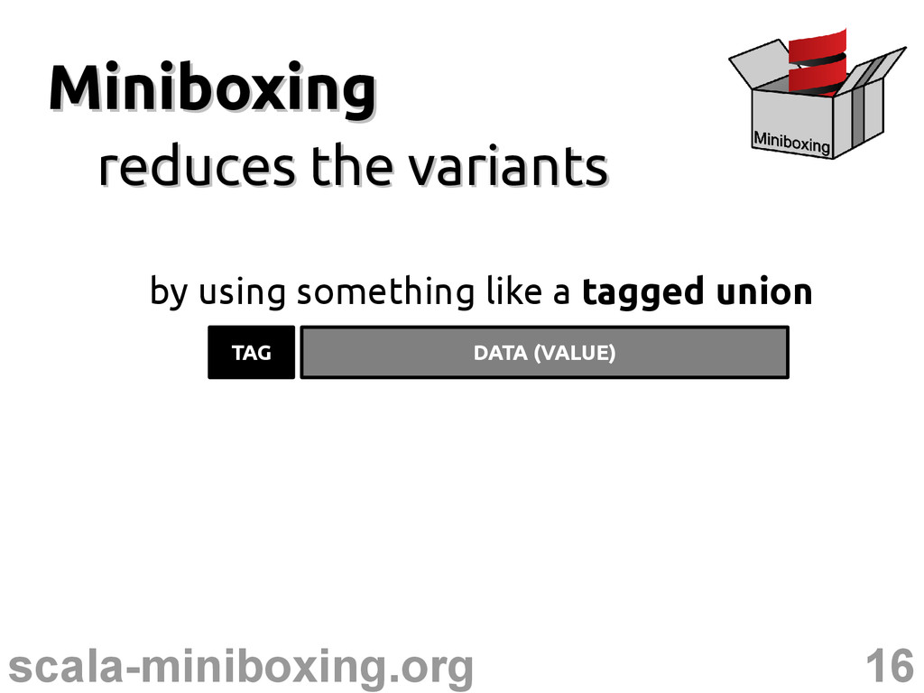 16 scala-miniboxing.org Miniboxing Miniboxing r...