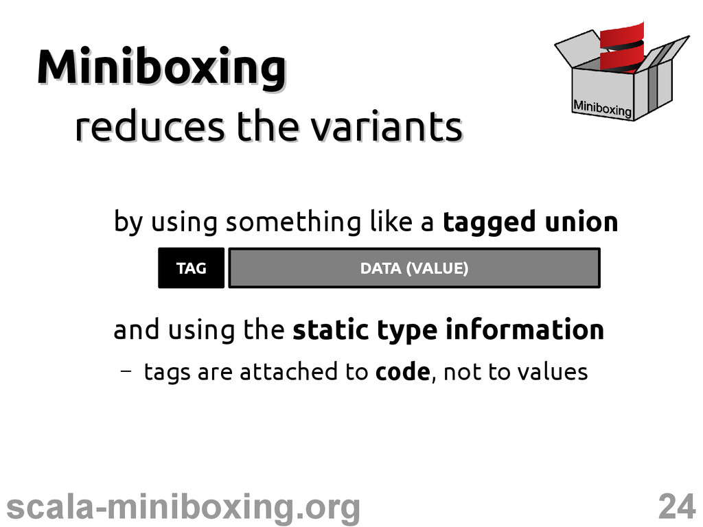 24 scala-miniboxing.org Miniboxing Miniboxing r...