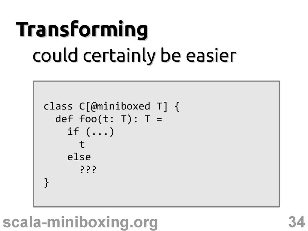 34 scala-miniboxing.org Transforming Transformi...