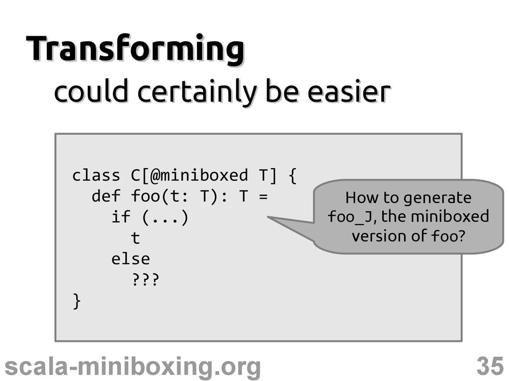 35 scala-miniboxing.org Transforming Transformi...